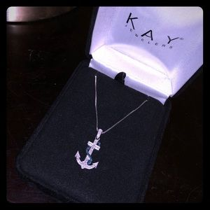 Sterling Silver Anchor with Diamonds